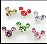 JC185 Mickey Earrings Disney Earrings, Faux Crystal Earrings, Six Colors -Pink
