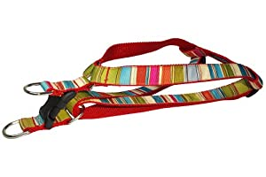 Sassy Dog Wear 23-35-Inch Red/Multi Stripe Dog Harness, Large