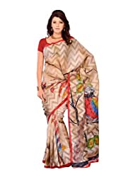 Diva Fashion-Surat Women's Brasso With Parrot Print On Its Pallu Multi Color Saree 241A