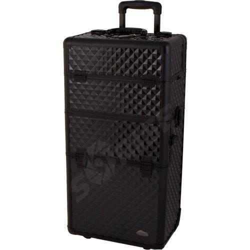 29 inch 2 in 1 Black Diamond Pattern with Black Trim Aluminum Professional Rolling Wheeled Makeup Artist Trolley Case Cosmetic Organizer Beauty Supply Carrier w/Removable Telescoping Handle