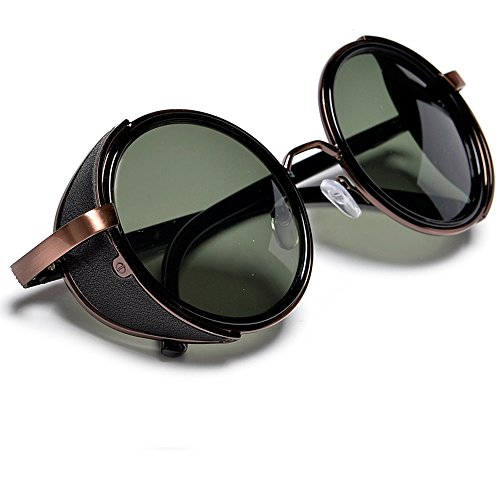 Rustic Copper Steampunk Round Blinder Sunglasses With G-15 Green Uv400 Lens
