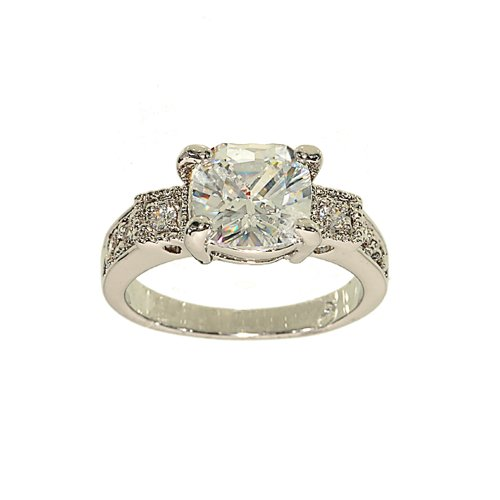 Engagement Ring Style Silvertone Fashion Ring in Cushion Cut Clear Cubic Zirconia with Side Stone Detail Size 5