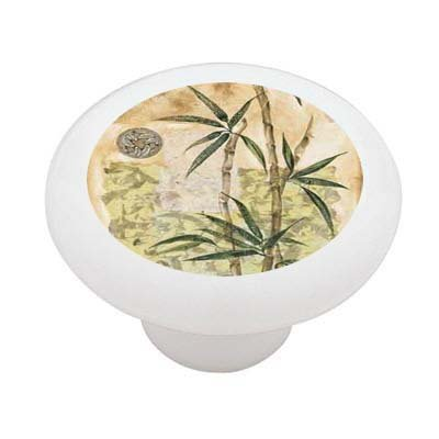 Abstract Bamboo Decorative High Gloss Ceramic Drawer Knob