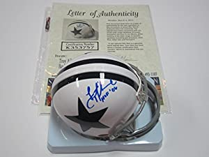 Troy Aikman Dallas Cowboys Mini Helmet Authentic Certified Coa