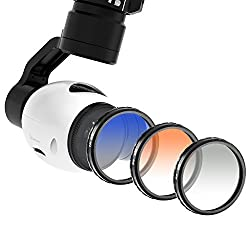 Neewer® for DJI OSMO / Inspire 1, Graduated Color Filter Set 3 Pieces: Graduated Grey Filter, Graduated Orange Filter and Graduated Blue Filter
