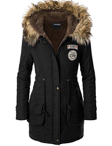 iLoveSIA Womens Hooded Warm Winter Jackets Faux Fur Lined Parkas Black UK 16