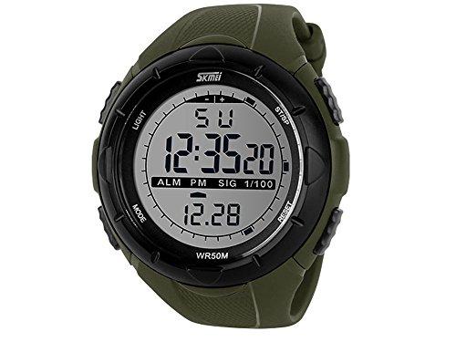Moonar®Cool Fashion Men Lcd Digital Waterproof Stopwatch Date Wrist Watch Sports Meter Dial Watch Wristwatch (Army Green)