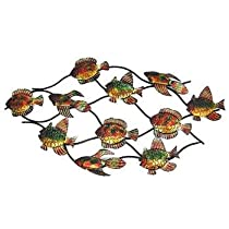 43 Inch Metal School Of Fish Wall Hanging Nautical