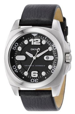 DKNY NY1434 Mens Black Dial Brown Leather Strap Watch