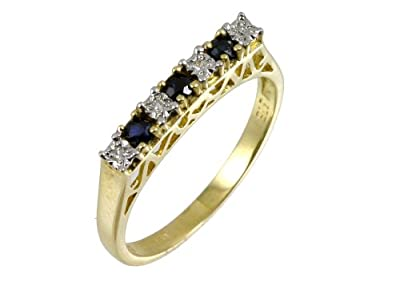 Ariel 9ct Yellow Gold Diamond and Sapphire 7 Stone Eternity Ladies Ring