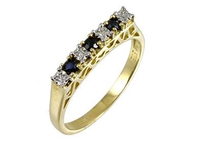 Ariel 9ct Yellow Gold Diamond and Sapphire 7 Stone Eternity Ladies Ring