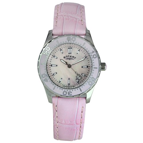 Rotary Ladies Steel Leather Strap Diver's Watch LS30010/07