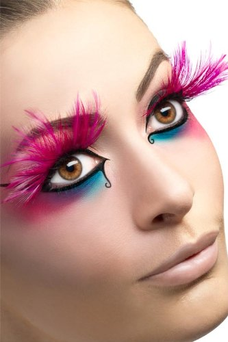 Fever Eyelashes With Feather Plumes, Pink, One Size - 1