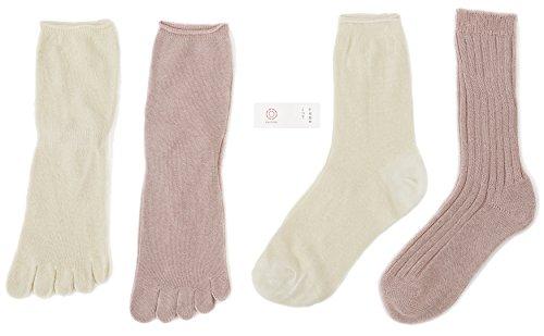 千代治のくつ下 冷えとり靴下 4足重ね履きセット 日本製 シルク100%とオーガニックコットン100% サーモンピンク