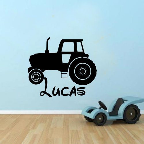Personalised Tractor Name Boys Kids Farmer Wall Sticker Vinyl Decal For Children 100X55