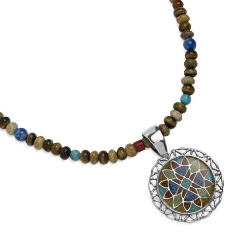 Sterling Silver Turquoise, Jasper, Tiger Eye and Lapis Soul of the Southwest Pendant Necklace