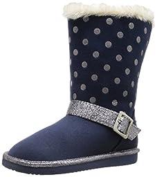 OshKosh B\'Gosh Iris G Polka Dot Sherpa Boot (Toddler/Little Kid), Navy, 8 M US Toddler