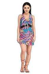 Summer waist belt Printed Beach Dress - NK4140-3