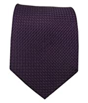 100% Silk Woven Solid Textured Eggplant Tie