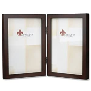Lawrence Frames 755957D Espresso Wood Hinged Double Picture Frame, 5 by 7-Inch