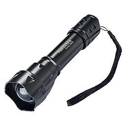 Forrader S20 CREE XM L2 U3 Adjustable Focus Zoomable Portable LED Flashlight 5 Mode White Light, Black (Flashlight Only)