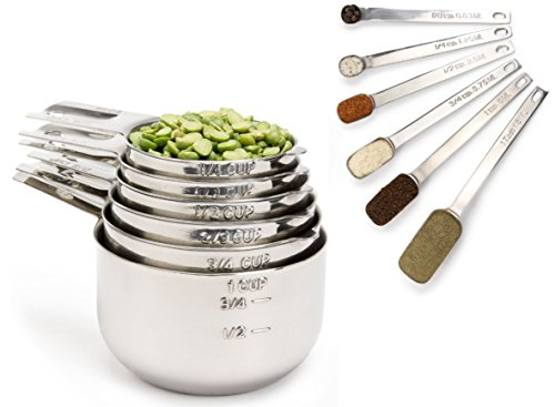 Simply Gourmet Stainless Steel Measuring Cups and Spoons Set (12-Piece). CHRISTMAS SALE! Lifetime Design! (Glass Espresso Measuring Cup compare prices)