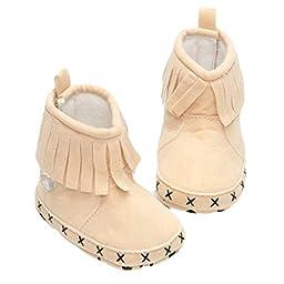 Mosunx Infant Baby Cute Snow Boots Soft Crib Shoes Toddler Boots Prewalker (11CM, Beige)