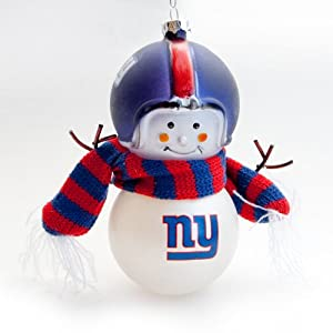 New York Giants Snowman Blown Glass Ornaments - set of 2 by Scottish Christmas