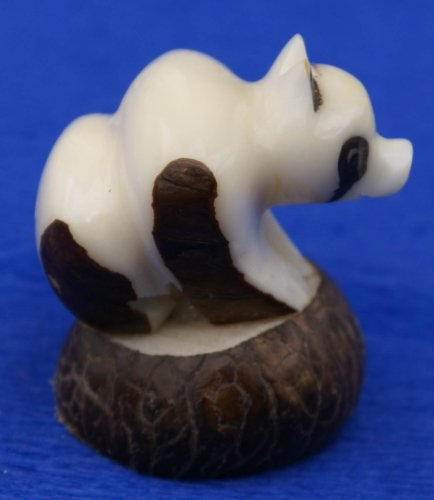 Panda Bear Tagua Nut Figurine Hand Carved Collectible China Wildlife Statues, 2 Inches