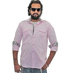 Guugu Men's Chinese Collar Casual Shirt (GUUGMS1015_Pink) (XX-Large)