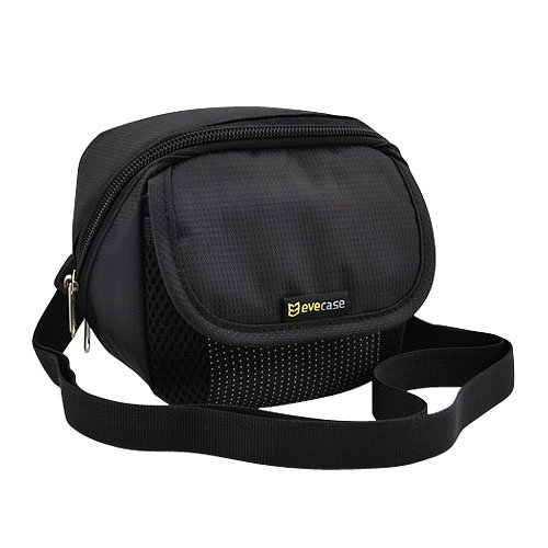 Evecase Black Digital Video Camera Pouch Nylon Case With Strap For Canon Powershot Sx510 Hs, Sx500 Hs, Sx400 Is, Sx170 Is, Sx160 Is, Sx150 Is, Sx230 Hs, Sx130 Is, Sx120 Is, Sx20 Is, Sx200 Is, Sx110 Is, Sx100 Is, S100,G16, G15, G12, G7 X, G1 X, G11, G10, G