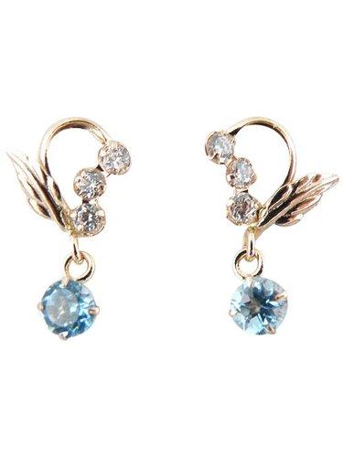 [ジュエリーコトブキ]Jewelry Kotobuki 11月 誕生石 ブルートパーズ 幸せの天使のエンジェル ピアス K14PG(ギフト セット)y110019