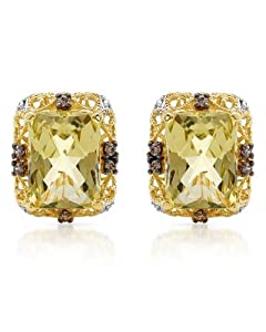 FPJ Majestic Earrings With 14.30ctw Cubic zirconia and Quartz 14K/925 Gold plated Silver. Total item weight 8.2g Length 18mm