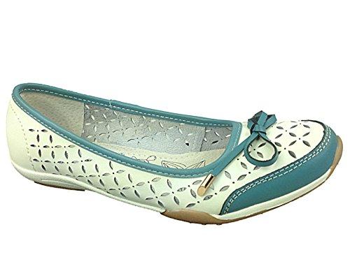 Foster Footwear  Celia,  Ballerine donna Bianco Blanc - Blanc/bleu
