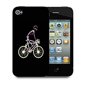 Snoogg Skeleton Riding Bicycle Designer Protective Back Case Cover For IPHONE 4