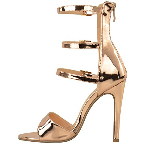 Fashion Thirsty Womens High Heel Strappy Sandals Open Toe Party Prom Shoes Size 10
