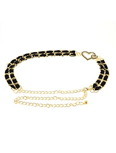 Lady Heart Decor Double Row Black Velvet Band Gold Tone Metal Waist Chain Belt