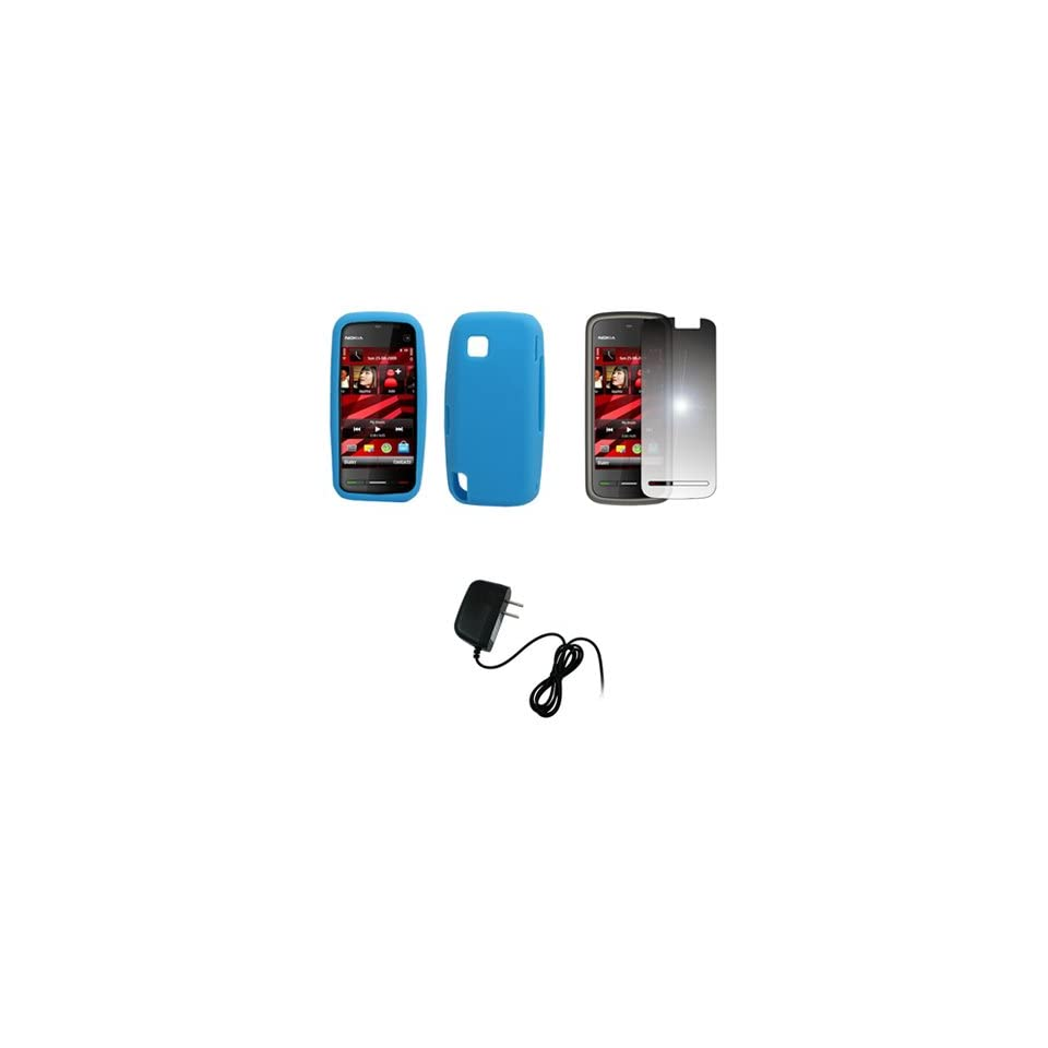 EMPIRE Light Blue Silicone Skin Case Cover + Mirror Screen Protector + Home Wall Charger for T Mobile Nokia Nuron 5230