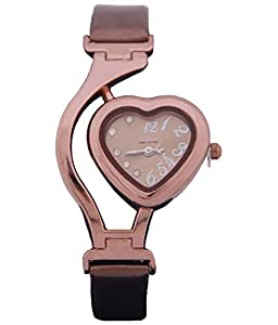 Kissu Designer Heart Shape Watch Brown
