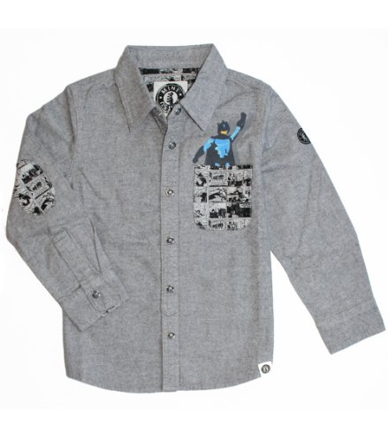 Mini Shatsu, Pow! Pocket Super Hero Buttoned Flannel Shirt (C) ~ 4T front-731059