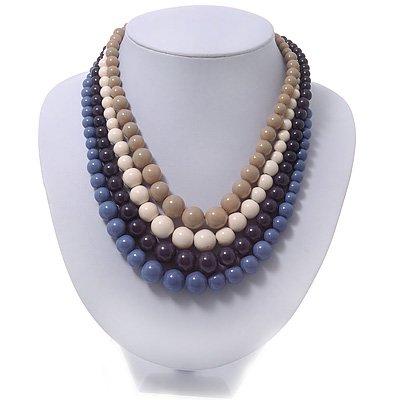 4 Strand Blue/Purple/Cream/Beige Graduated Acrylic Bead Necklace - 40cm Length/ 7cm Extension