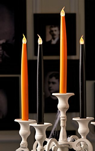 """Halloween Flickering Cryptic Candles Led 10"""" Taper 4 Pc Set Orange & Black In Gift Boxes"""