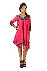 INDRICKA Pink colour Bio-silk (Modal) Dress for womens