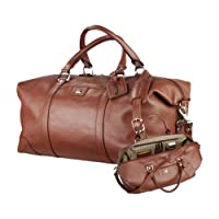 Indiana State Cutter & Buck Brown Leather Weekender Duffel 'Sycamores Offical Logo' by CollegeFanGear