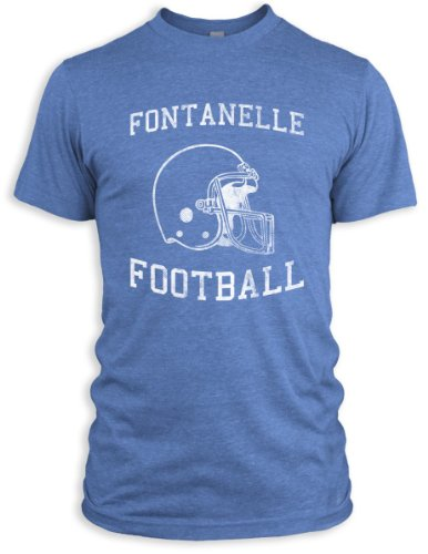 Vintage Distressed Fontanelle Football Tri-Blend T-Shirt, Athletic Blue, 2XL