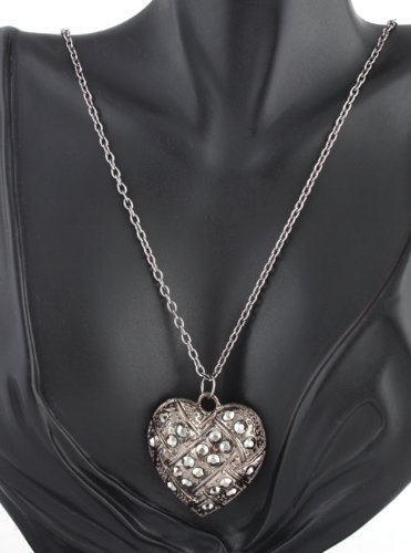 Ladies Gun Metal Iced 3D Basket Style Heart Pendant with a 26 Inch Link Chain Necklace