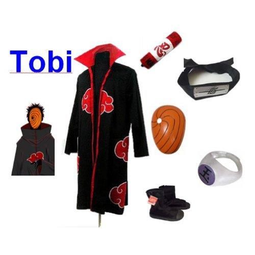 [Naruto Itachi Tobi cosplay costume and shoes set , size L] (Tobi Mask Costume)