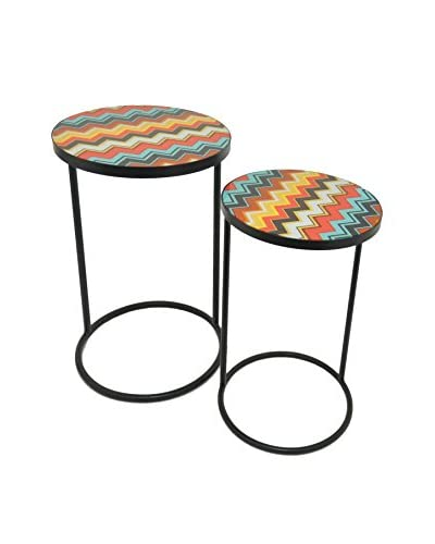 Three Hands Set of 2 Metal Tables, Multi