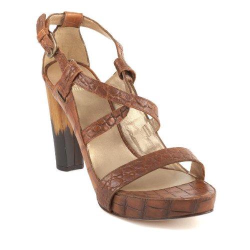 Stuart Weitzman Women's Phoenix Sandal,Hickory Luggage Croco,10 M US