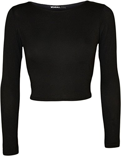 Janisramone donna manica lunga girocollo crop top t shirt